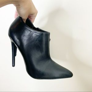 FRH vegan leather black ankle booties